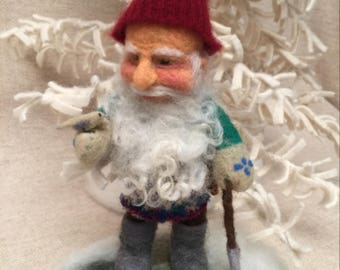 Needle felted Gnome in winter - helping out as happy Gnomes do!