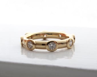 18kt gold and diamond eternity ring solid bezel set wedding or anniversary band, wide eternity ring