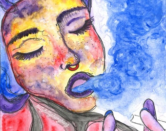 Fxck Thxs Shxt -- Watercolor Print, Colorful, Blue, Red, Yellow, Purple, Ink, Drawing, Paint, Woman, Smoke, Smoking, Relax, Calm, Rainbow