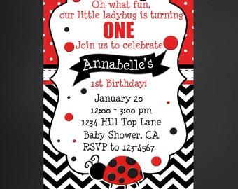 Ladybug Birthday Invitation, Ladybug 1st Birthday Invitation, Ladybug First Birthday, Our Little Ladybug