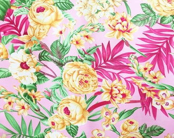 Large floral fabric - tropical fabric - floral cotton - Summer fabric - retro fabric - Hawaiian cotton fabric - cotton for dressmaking
