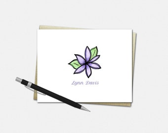 Personalized Note Card Set - Floral Notecards - Folded Note Cards - Custom Stationery | gifts flower purple women girls