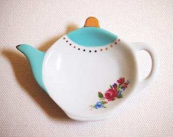 Beautiful Teal Gold White Ceramic Tea Bag Rest Rose Flowers