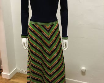 1970's vintage  geometric pattern mid century style polyester jersey material maxi dress with bias bottom skirt