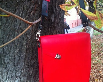 Red Vertical Leather Messenger Bag, Red Leather Bag,Red Macbook Bag, Red Messenger Bag, Red Genuine Leather Bag, Handmade Bag