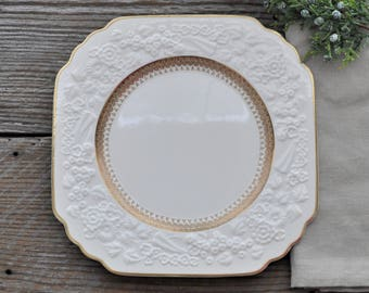 Two Square Dinner Plates - George Jones & Sons - Rhapsody-  Wedding Dinner - Bridal Tea Party - Fine China - Mismatched - Mix and Match -