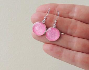 Pink Glitter Earrings, Resin Charm Drop Earrings, Simple Charm Jewellery, Pink Jewellery, Dangly Earrings, UK Seller