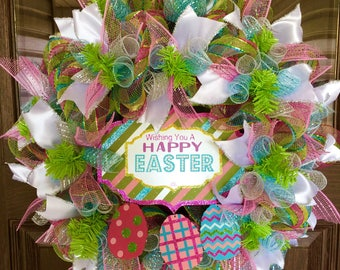Etsy Pink and Green Front Door Etsy Easter Wreath on Etsy   Door Wreaths By Trina   Wreaths on Etsy   Etsy Wreaths
