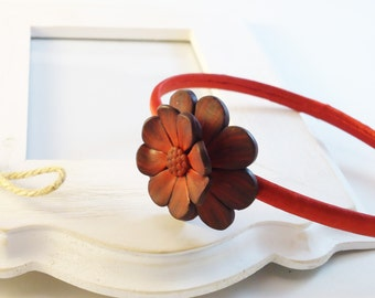 Floral headband in polymer clay- Hair jewelry one  flower tiara- Handmade hair  accessories red clay flower- headband for  women and girls.