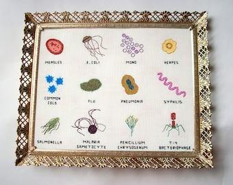 Microbe cross stitch sampler 8x10 -- a dozen microbes