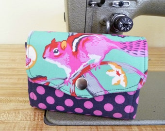 Chipper Mini Necessary Clutch Wallet (NCW), Bright Chipmunk Fabric, Multiple Card Slots