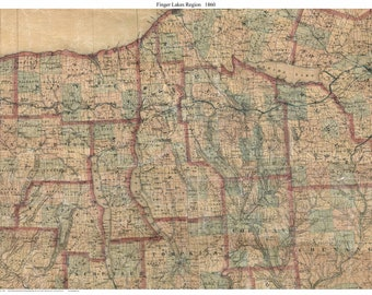 Finger Lakes Region - 1860 Old Map Reprint - French-Smith - New York - Specials - Lakes