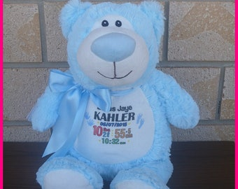 BLUE Personalised Plush Teddy/Bear/Cubby