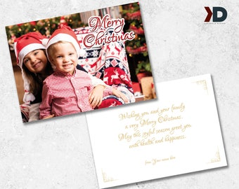 Christmas Card Printable Template - Your Family Photo Christmas Card - Printable Card Design Template - Greeting Card NSTANT DOWNLOAD
