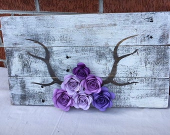 Wedding decor/Custom antler sign with purple flowers/deer antlers/ rustic sign/wedding sign/country decor