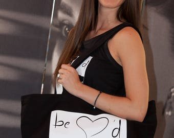 Be Loved by - Large Tote black bag. 100% cotton.