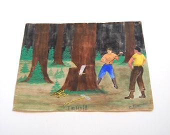 Vintage Painting, Original Art, Lumberjack