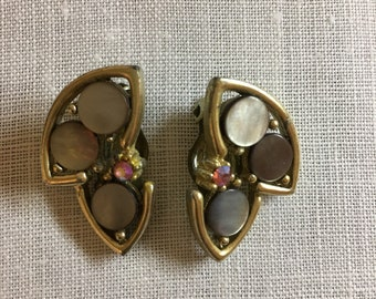 S & G Mother of Pearl Clip On Earrings, Vintage