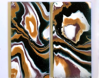 Two panel acrylic paintings on canvas, set of 2 paintings, teal mauve white gold, 12x24 inch pair, modern contemporary crystal geode fluid