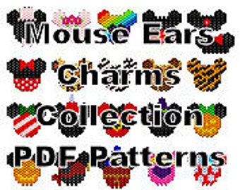 Christmas Pattern Mickey and Minnie Mouse Ears Beaded Charms Pattern Collection PDF Pattern 21 Assorted Charms Brick Stitch Charms