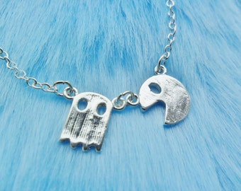 Pacman Ghost Computer Gaming Gamer Retro Pendant Silver Necklace Jewellery Jewelry