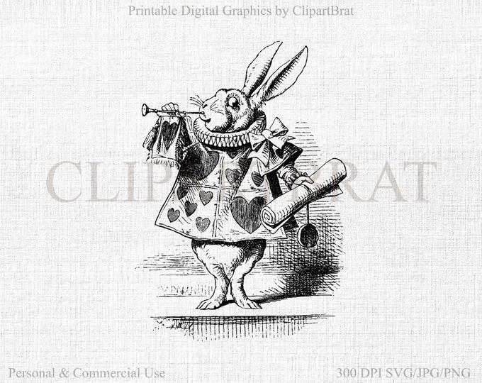 ALICE in WONDERLAND Clipart Commercial Use Clipart The White Rabbit Clipart Vintage Fabric Transfer Clipart Vector Graphic Jpg/Png/Svg