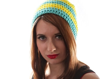 Holiday Gift, Striped Beanie, Yellow and Blue Hat, Striped Winter Hat, Mens Winter Beanie, Hipster Beanie, Crochet Winter Hat
