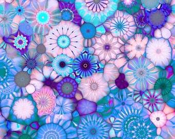 Artisan Made Fleece Fiber Art Fabric Panel Yellow Blue Pink Purple Kaleidoscope Blanket