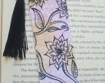 Beautiful Handmade Flowers and Vines Bookmark