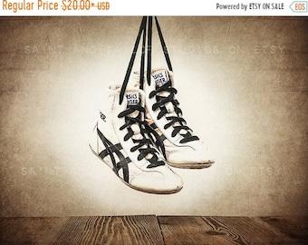 FLASH SALE til MIDNIGHT Vintage Wrestling Shoes Photo Print, Rustic Decor, Boys Room, Sports Theme room