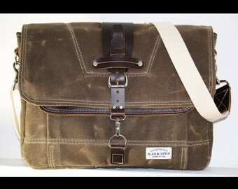 Waxed Canvas Messenger bag - handmade - FIELD TAN + leather accents + Natural shoulder strap 010026