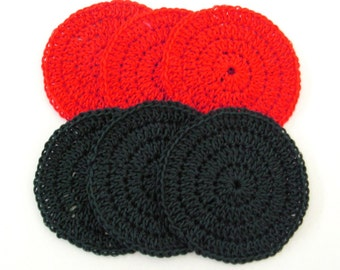 Drink Coasters Dark Green and Bright Red Handmade Pack of 6 Ready to Ship