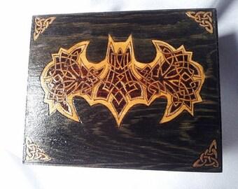 Custom Batman Celtic Knotwork Keepsake Jewelry Box
