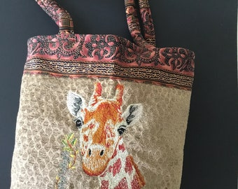 Giraffe embroidered shoulder tote bag, market bag.  Double handles.