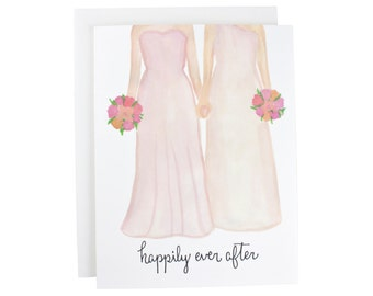 Happily Ever After Gay Couple greeting card, engagement, wedding, couple, lesbian, calligraphy