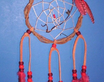 Native American inspired Dream Catcher 4-123, Guinea Feathers,  Glass Beads, Grapevine