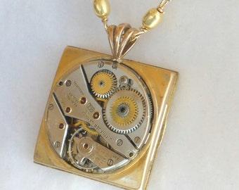Wittnauer Vintage Watch Movement Steampunk Pendant   SN281