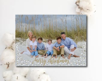 "Photo Christmas Card. ""Merry Christmas"" with gold/white snow dots."