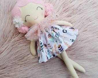 Handmade Cloth Doll, Rag Doll, Keepsake Doll, Heirloom Doll, First Birthday Gift, Baby Shower, 45cm, 18in, Dolls and Daydreams, Fabric Doll
