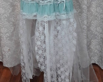 Blue Tattered Fairy Skirt, Tattered Pixie Skirt, Fairy Cosplay, Fairy Fantasy Halloween Skirt