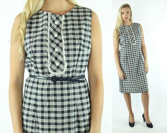 1960s Sleeveless Plaid Dress Navy Blue White Sheath Tuxedo Sundress 1960s Large L
