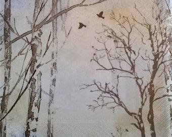 "3 Decoupage Napkin - Winter Forest Trees Faded Dreams 13"" x 13"""