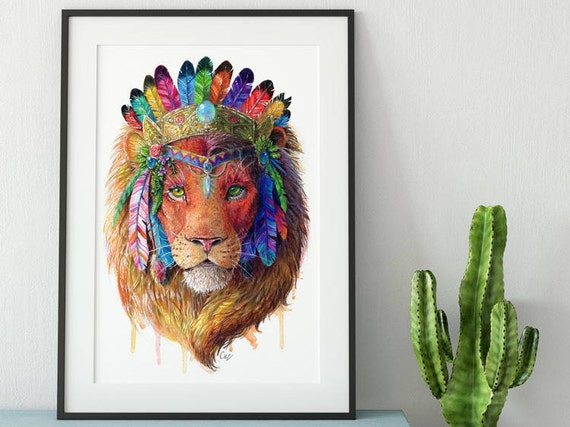 Bohemian Lion Wall Art Print Spirit Animal Totem Series