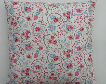 Cushion Cover,  pillow,cover,  paisley print, pink floral on white pillow cover, cottage chic cushion Cover, Various Size Options,