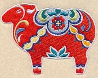 Classic Dala Sheep Embroidered Kitchen Towel