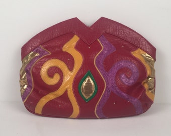 Vintage 1980s Red Clutch with Green Gold and Purple Accents