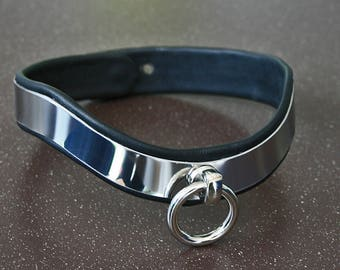 Fine BDSM steel collar metal collar stainless steel necklace swinging with O-ring padded with soft black leather - width: 15 mm