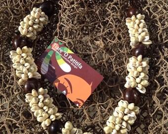 Hawaiian Monita Cowrie Shells & Kukui Nut Lei Choker Or Necklace For Young Children. Perfect For Wedding, Dancers, Luau, Gifts, Graduations.
