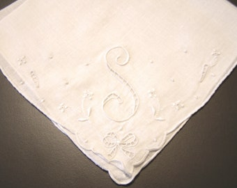 """Perfect for Weddings or Brides!  Lovely Vintage White Linen Handkerchief Initialed """"S"""""""