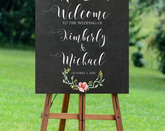 chalkboard wedding sign, printable wedding sign, custom wedding sign, welcome wedding sign, floral wedding sign, 11x14,  16x20, 24x30